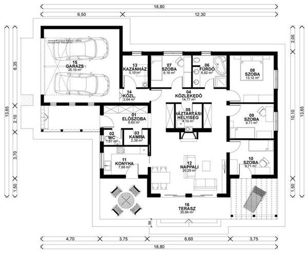 4 szobás 186 m2-es családi ház típusterv – Készház Portál ...