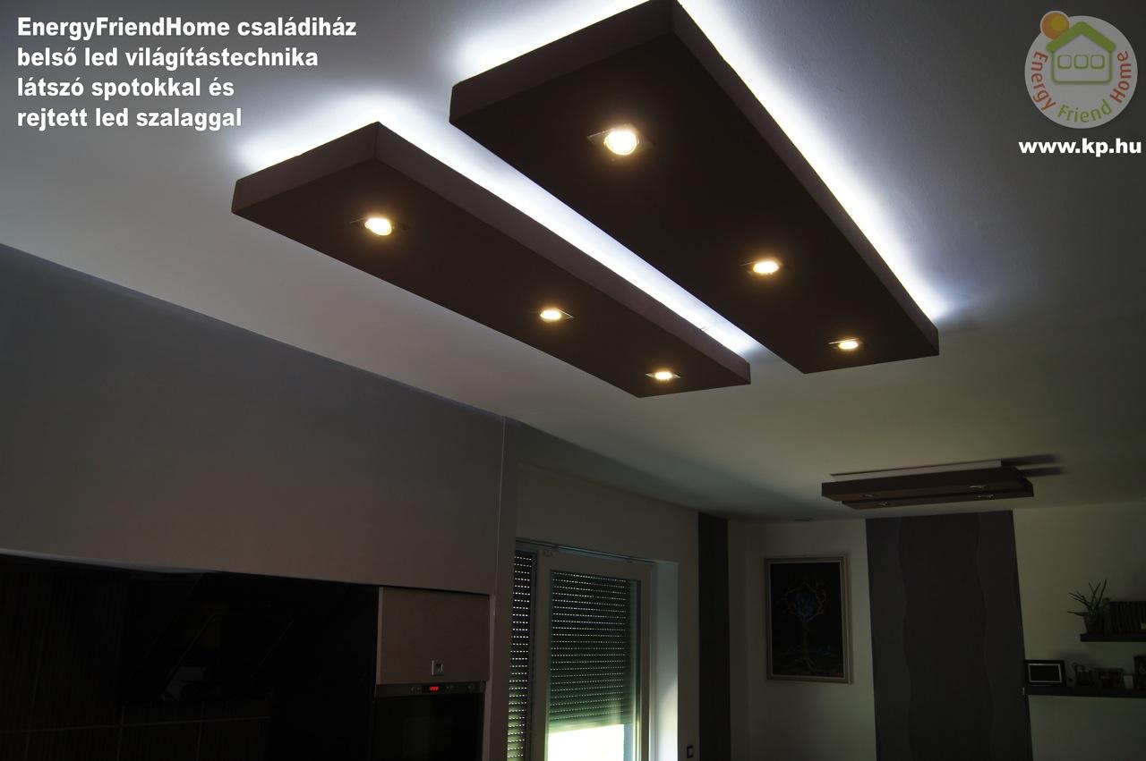 Minimál családiház épített led világítás