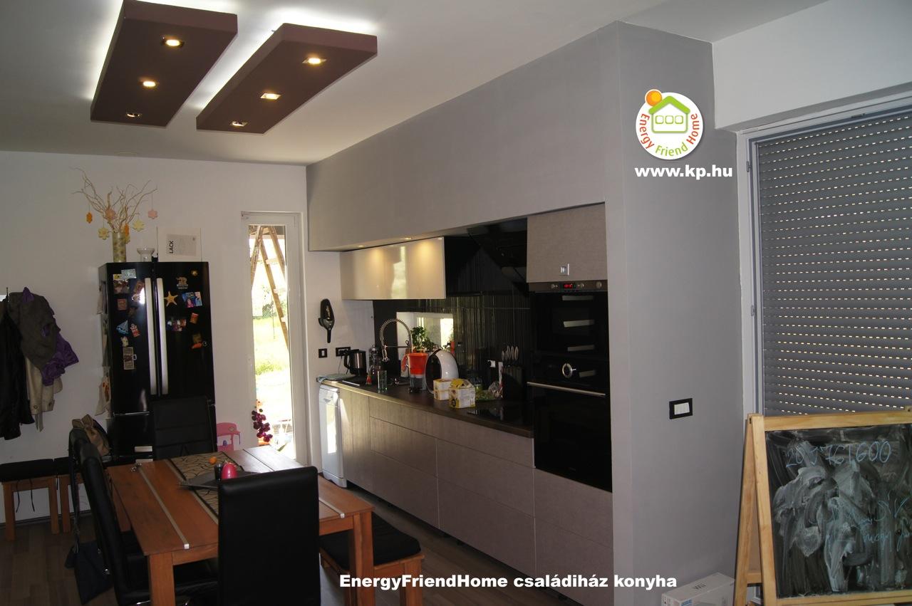 Minimál családiház épített led világítás és konyha